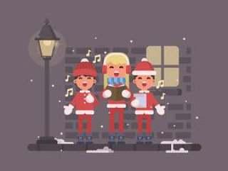 唱圣诞颂歌的小孩在街道例证