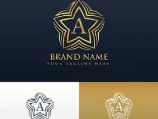 字母与星形状的标志概念设计