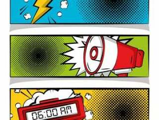 漫画波普艺术横幅崩溃扩音器和闹钟半色调