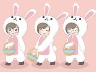 复活节贺卡与可爱的角色设计