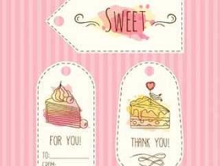标签与蛋糕图。矢量手绘标签设置水彩溅起。 。