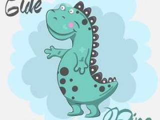 手拉逗人喜爱的恐龙婴孩的动画片