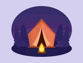 夜露营矢量