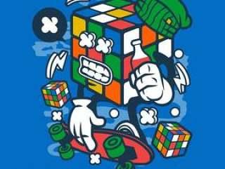Rubix立方体溜冰者卡通人物