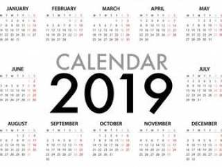 2019年周的日历从星期一开始