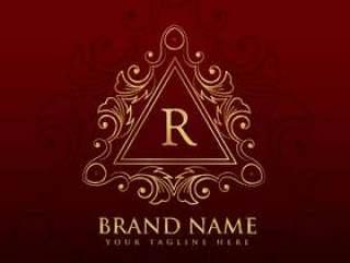 字母R的会标边框框架标志设计