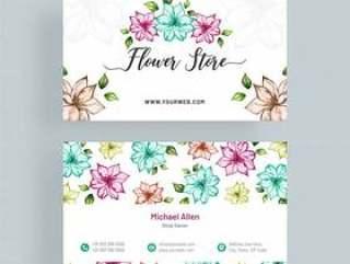 艺术,色彩鲜艳的花卉装饰的名片。