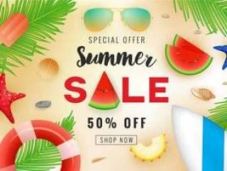 夏季销售横幅背景设计与夏季装饰