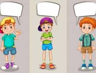 讲话泡泡设计与三个男孩