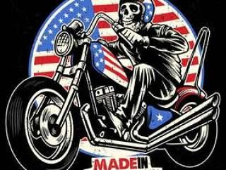 头骨骑美国国旗画摩托车