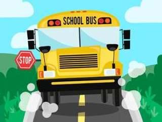 在路和自然背景的学校bus场面