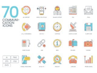 Photoshop和Illustrator的70色线通信图标。,70通信颜色线图标
