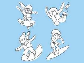 孩子们练习运动矢量