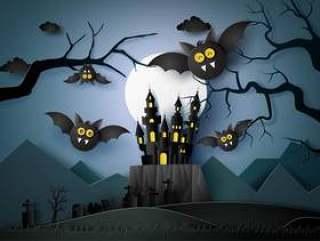 与飞行在黑暗的骑士的棒的愉快的万圣夜。