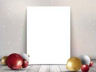 与圣诞小玩意木制的桌子上的空白画布