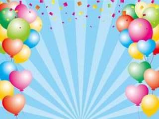 气球和五彩纸屑的背景材料
