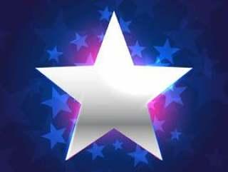 银星在蓝色背景中
