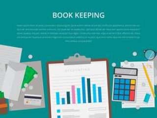 平面设计。与项目的业务概念。簿记插图。
