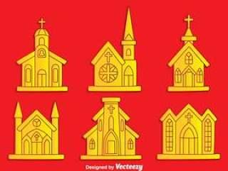 在红色背景传染媒介的修道院汇集