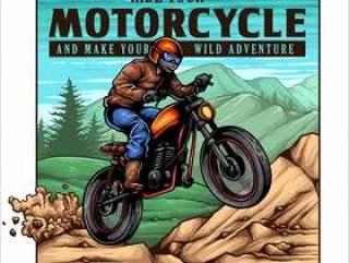 葡萄酒摩托车骑自行车的人在山跳