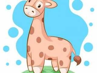 可爱,有趣的泰迪熊长颈鹿 - 卡通插图。