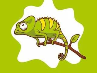 在分支例证的变色蜥蜴