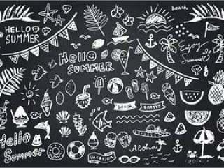 黑板艺术夏季系列白色1色Ver。