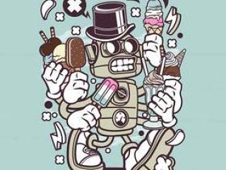 冰淇淋机器人卡通