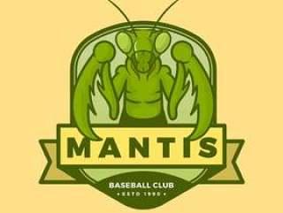 与现代徽章模板传染媒介例证的平的昆虫螳螂吉祥人商标