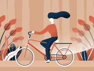 骑自行车矢量设计的女人