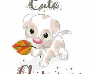 与秋天动画片叶子的逗人喜爱的小小狗手拉