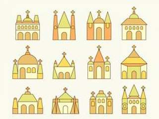 修道院和教会向量