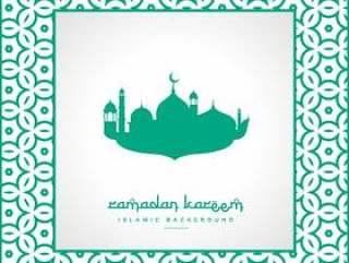 斋月节日问候与清真寺和模式框架