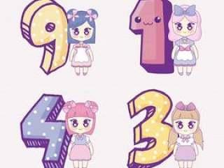 图标集的卡哇伊动漫女孩和数字