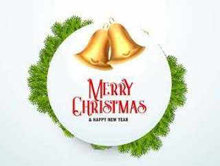 与冷杉的金黄圣诞节铃声为节日季节离开