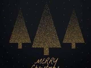 时尚圣诞树用黑色背景上的金点