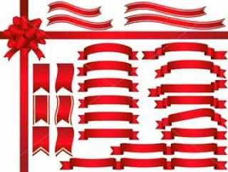 一套各色红丝带。