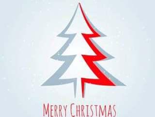 在剪纸风格创意圣诞树设计