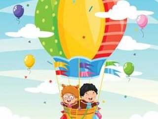 乘坐热空气气球的孩子的例证