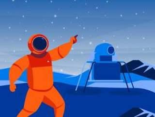 宇航员和太空船在行星例证登陆了