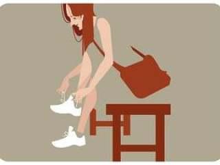 她的鞋子传染媒介的女孩