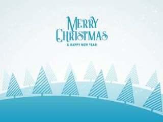 创意圣诞冬季季节性贺卡设计与林