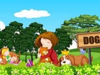 人和狗在狗公园