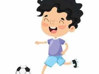 踢橄榄球的孩子的例证