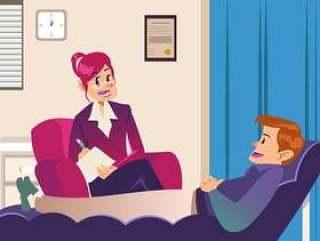 病人与心理学家交谈