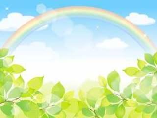 彩虹和新鲜的绿色框架3