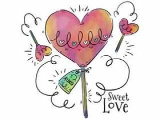可爱的棒棒糖心与饰物到情人节' s天