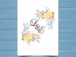 与美丽的黄色和紫色玫瑰的花卉婚礼徽章