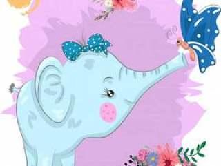 可爱的大象和蝴蝶卡通画