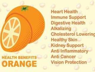 橙色水果健康益处矢量